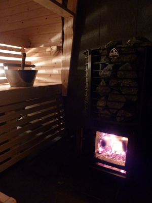 Enjoy the atmosphere and sensitive heat of our sauna in the Fishing Cottage Jokiniemi on Lake Saimaa